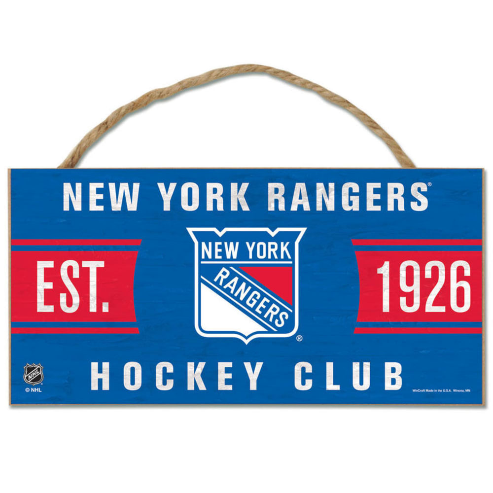 NEW YORK RANGERS Fan Cave Wood Rope Sign - ROYAL BLUE