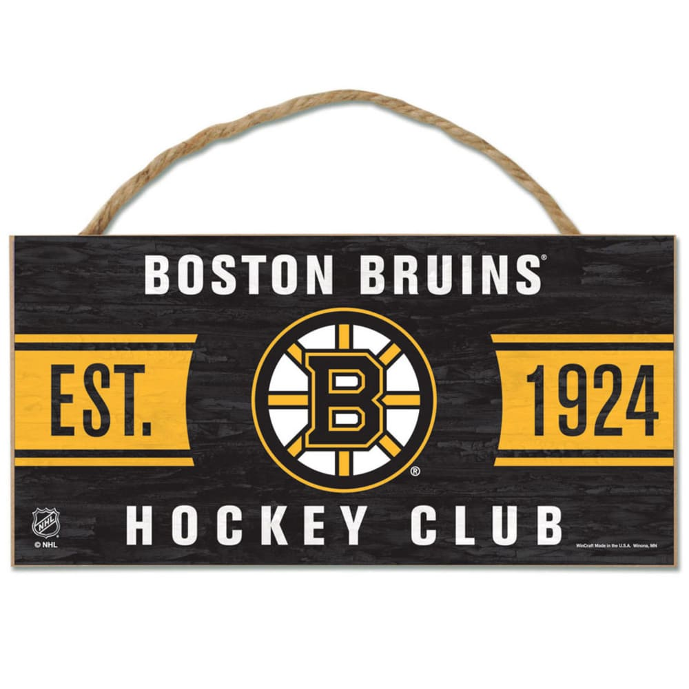 BOSTON BRUINS Fan Cave Wood Rope Sign - BLACK
