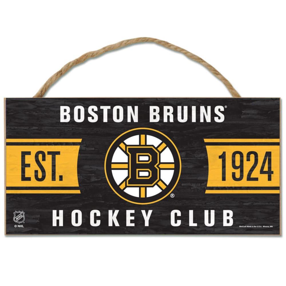BOSTON BRUINS Fan Cave Wood Rope Sign - BLACK