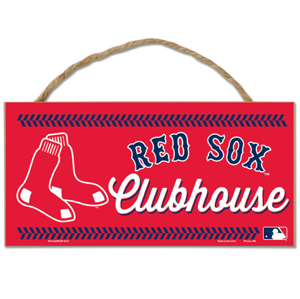 BOSTON RED SOX Fan Cave Wood Rope Sign - RED