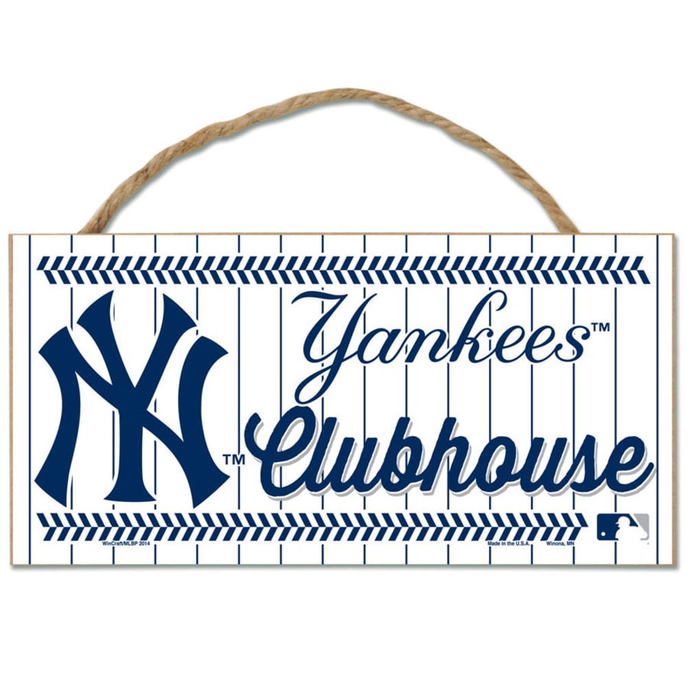 NEW YORK YANKEES Fan Cave Wood Rope Sign - WHITE