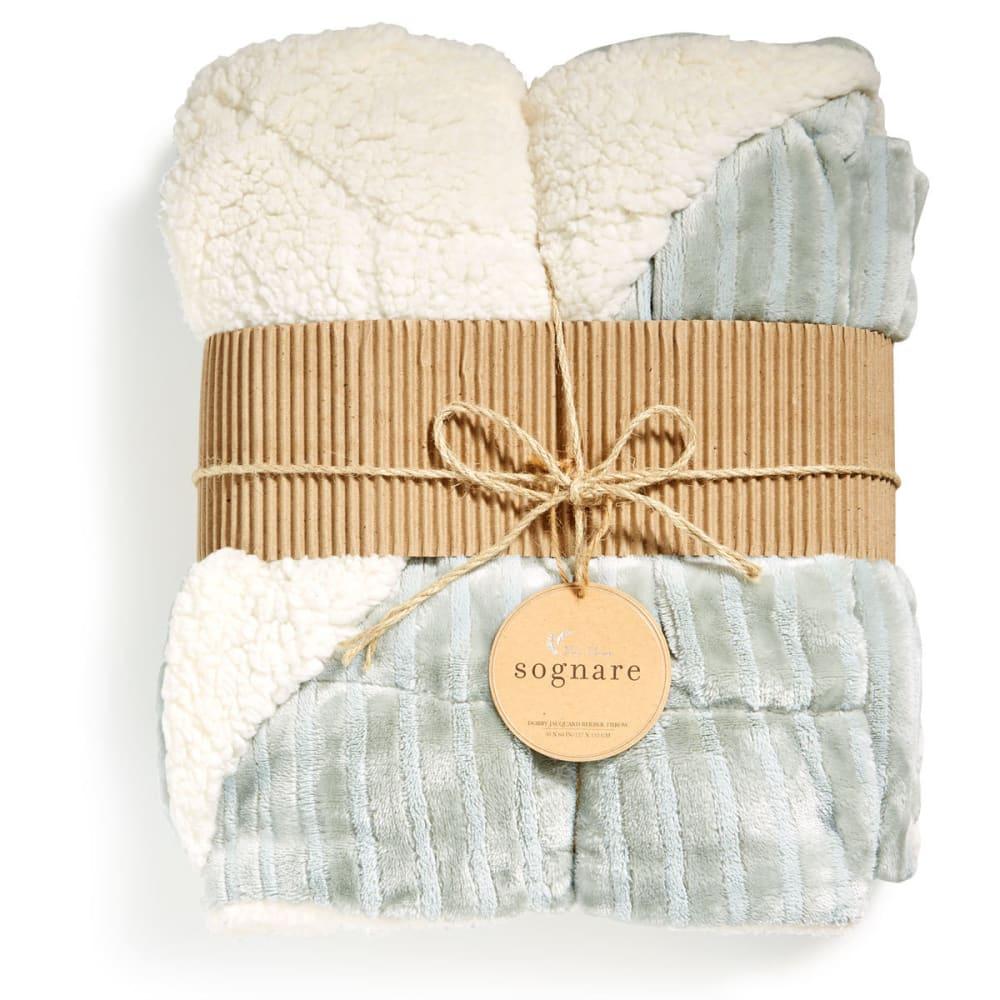 NORTHPOINT TRADING Verse Dobby Stripe Jacquard Velvet Berber Throw Blanket - AQUA