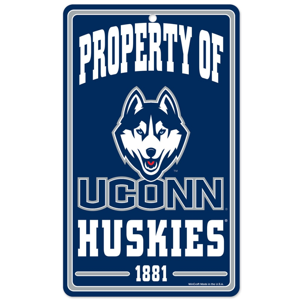 UCONN 7.25 x 12 in. Property of Plastic Sign - NAVY