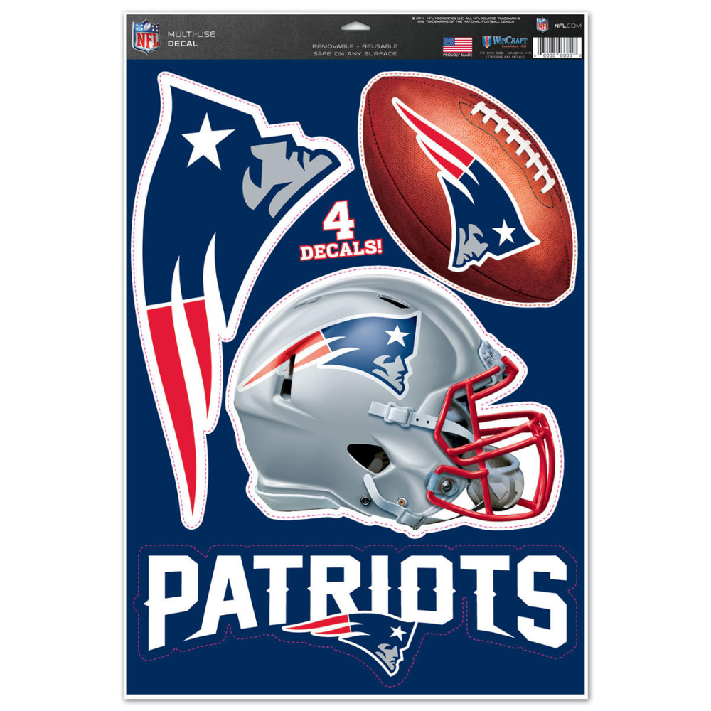 NEW ENGLAND PATRIOTS Multi-Use Decals, 4 Pack - NAVY