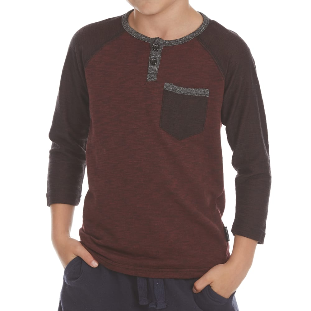 OCEAN CURRENT Little Boys' Statement Pocket Long-Sleeve Henley - BURGUNDY
