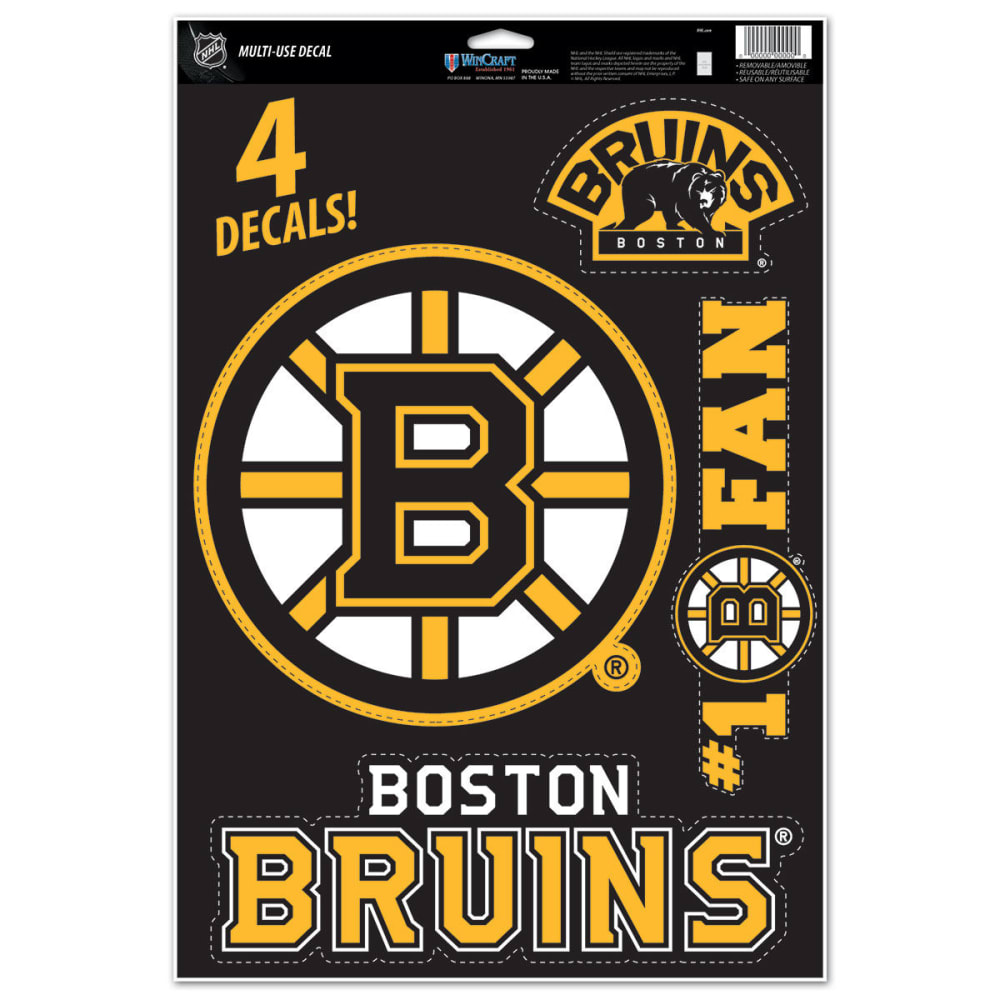 BOSTON BRUINS Multi-Use Decals, 4 Pack - BLACK