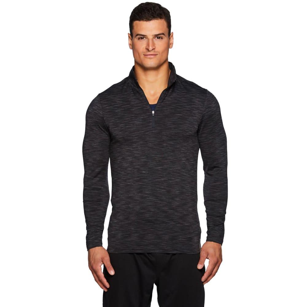 RBX Men's Stratus Fitted 1/4 Zip Long-Sleeve Workout Shirt - BLACK-B