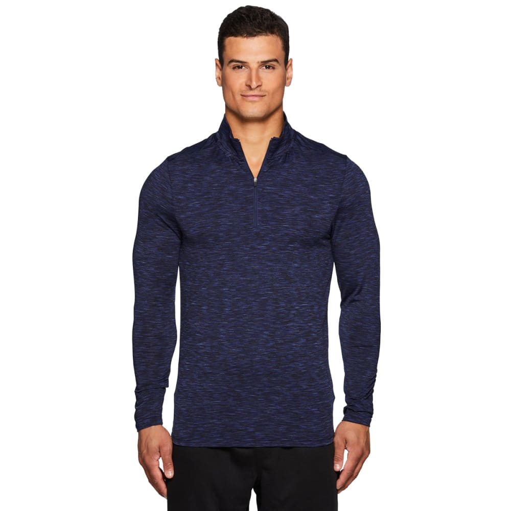 RBX Men's Stratus Fitted 1/4 Zip Long-Sleeve Workout Shirt - NEW NAVY-C