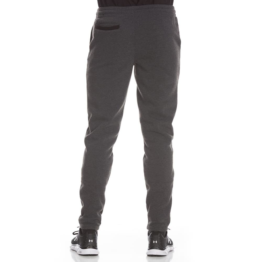 RBX Men's CVC Fleece Tapered Jogger Pants with Zippered Hems - CHARCOAL HTR