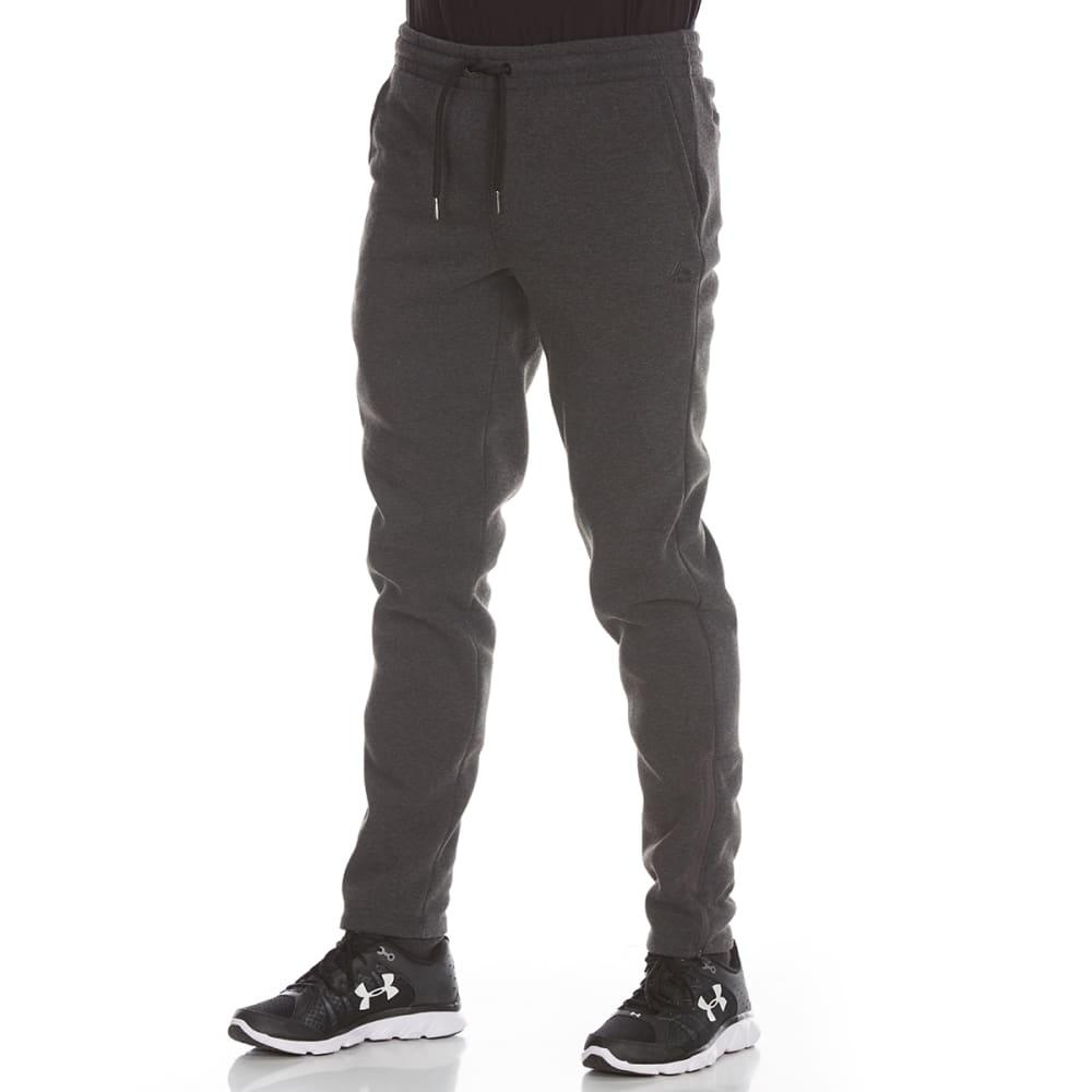 RBX Men's CVC Fleece Tapered Jogger Pants with Zippered Hems - CHARCOAL HTR