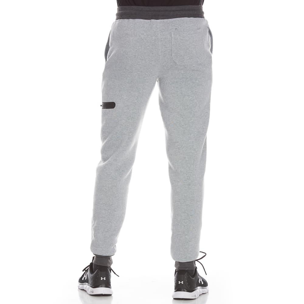 RBX Men's CVC Fleece Jogger Pants with Zippered Pocket - GREY HTR