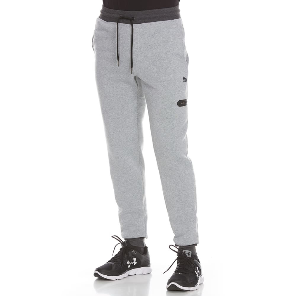 RBX Men's CVC Fleece Jogger Pants with Zippered Pocket - GREY HTR