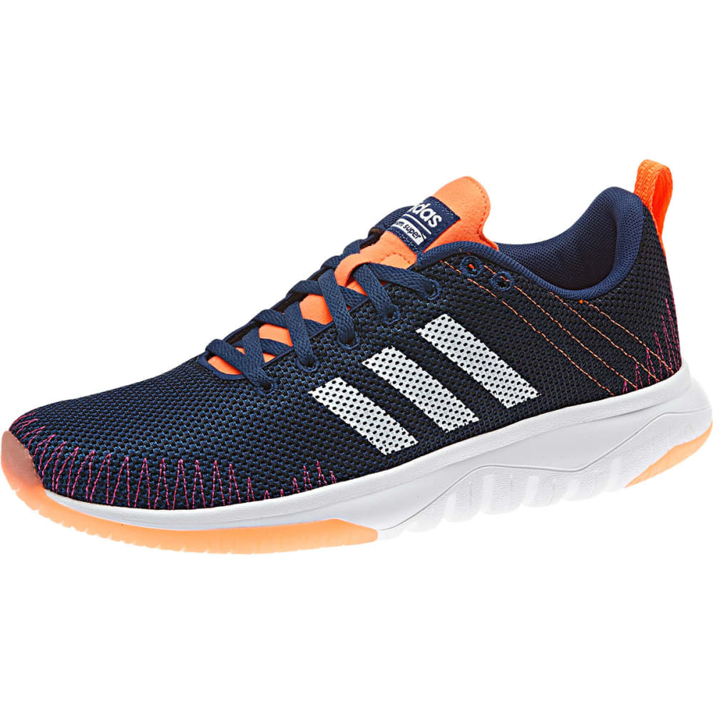 ADIDAS Women's Cloudfoam Super Flex Running Shoes, Blue/White/Glow Orange - NAVY