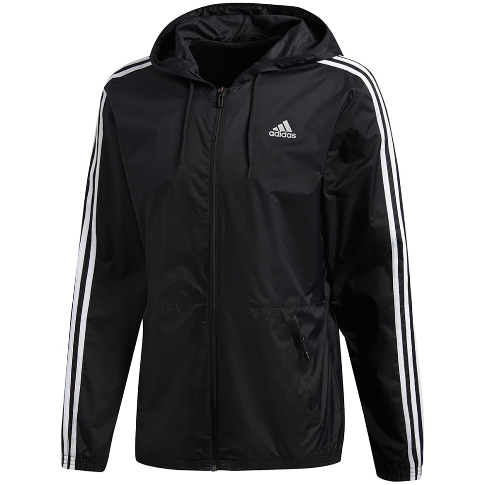 ADIDAS Men's Essentials 3-Stripes Wind Jacket - BLACK/WHT-BS2232