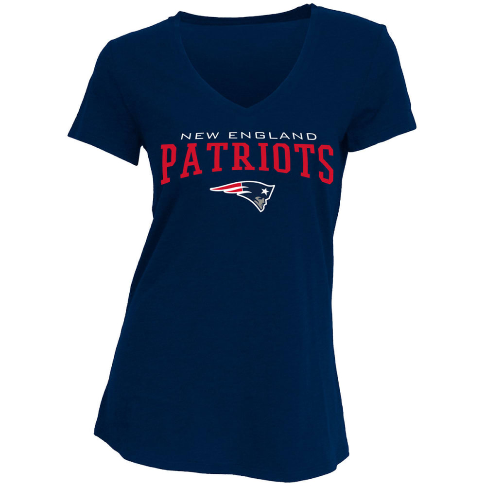 New England Patriots Women's V-Neck Short-Sleeve Tee - Blue, S