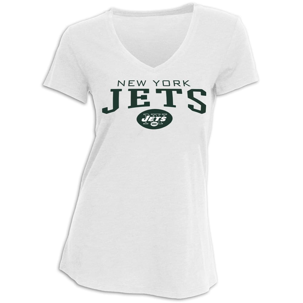 NEW YORK JETS Women's V-Neck Short-Sleeve Tee - WHITE