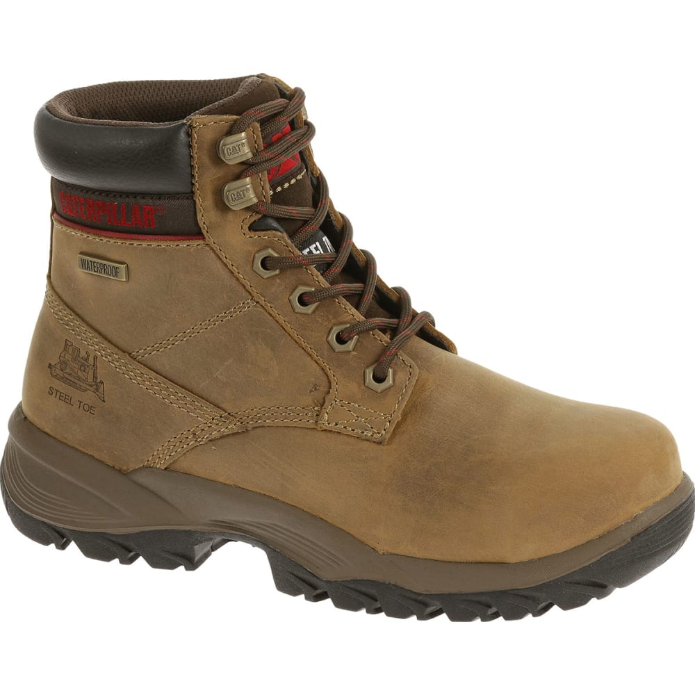 CATERPILLAR Women's 6 in. Dryverse Waterproof Steel Toe Work Boots, Dark Beige - Brown, 6.5