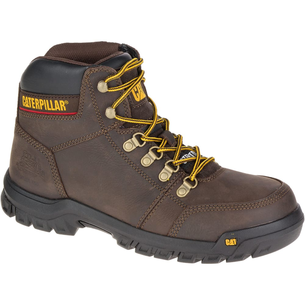CATERPILLAR Men's 6 in. Outline Steel Toe Work Boots, Seal Brown