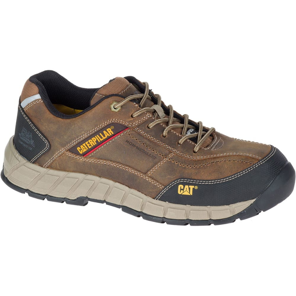 CATERPILLAR Men's Streamline Composite Toe Work Shoes, Dark Beige - Brown, 9.5