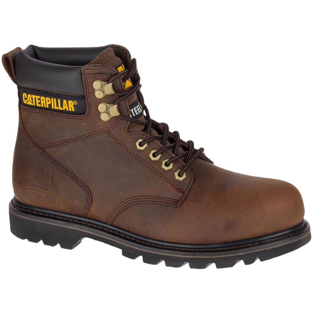 CATERPILLAR Men's 6 in. Second Shift Steel Toe Work Boots, Dark Brown - DARK BROWN