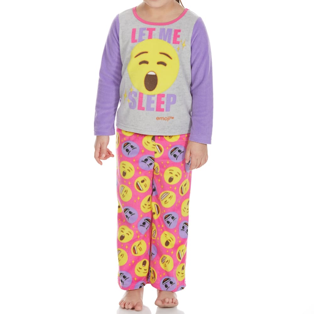 Ame Little Girls Two-Piece Emoji Fleece Sleep Set - Various Patterns, 4