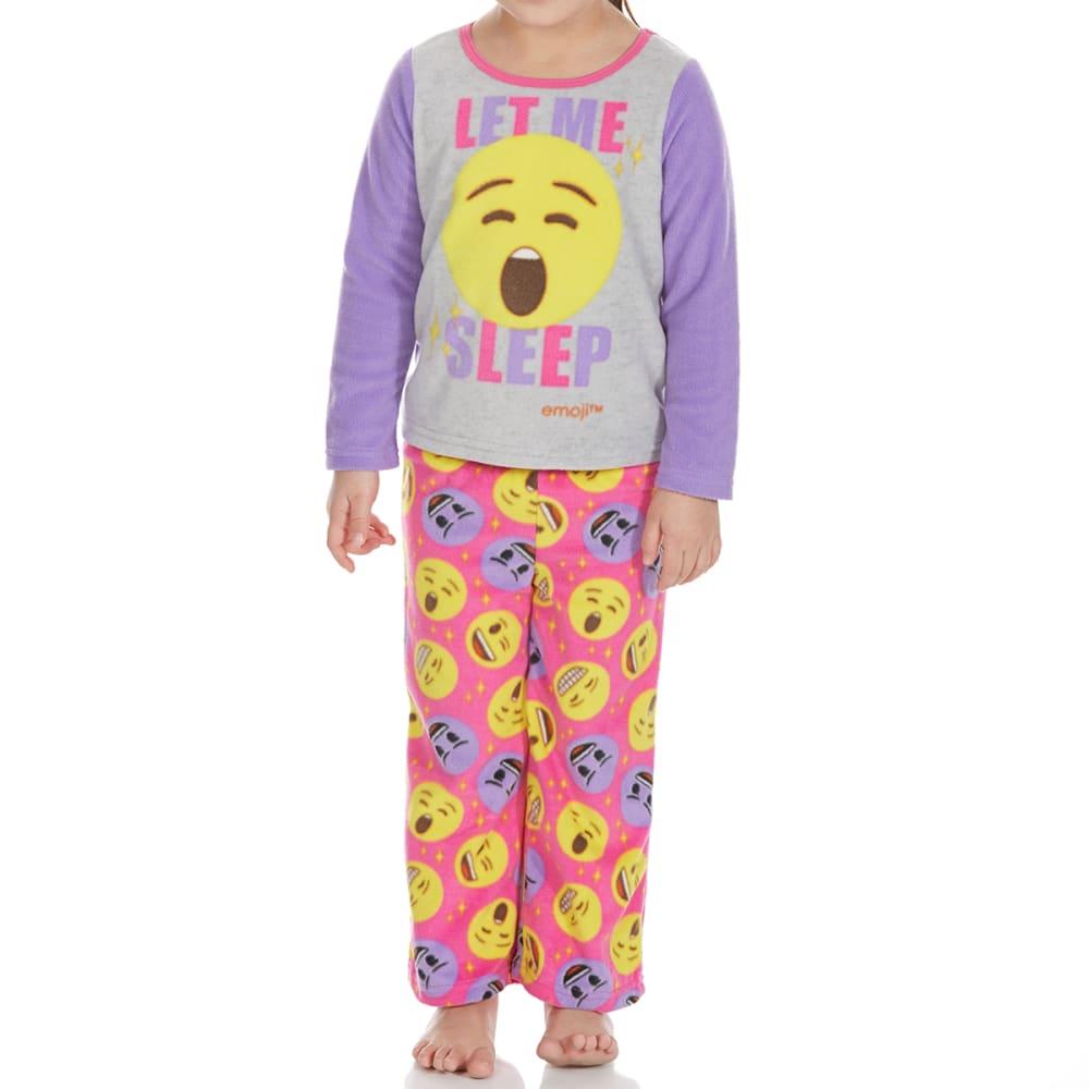 AME Little Girls' Two-Piece Emoji Fleece Sleep Set - ASSORTED
