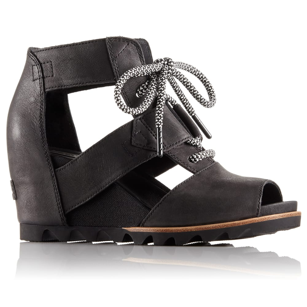 SOREL Women's Joanie Lace Wedge Sandals - BLACK