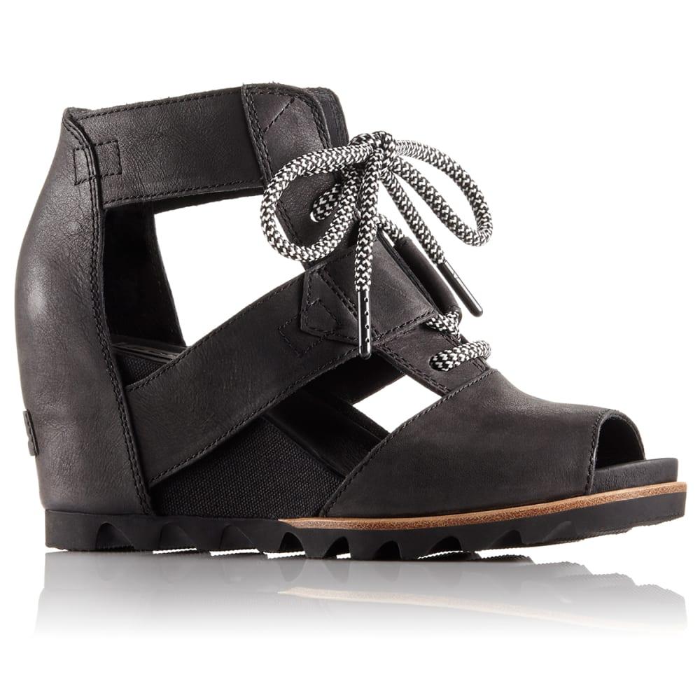 SOREL Women's Joanie Lace Wedge Sandals - BLACK