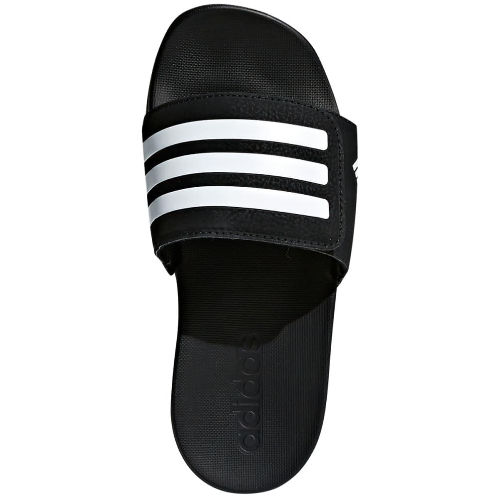 ADIDAS Boys' Adilette Cloudfoam Plus Adjustable Slides - BLACK/WHITE