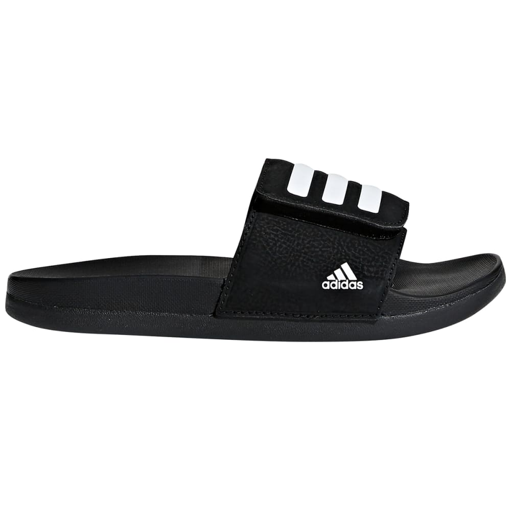 ADIDAS Boys' Adilette Cloudfoam Plus Adjustable Slides - BLACK/WHITE