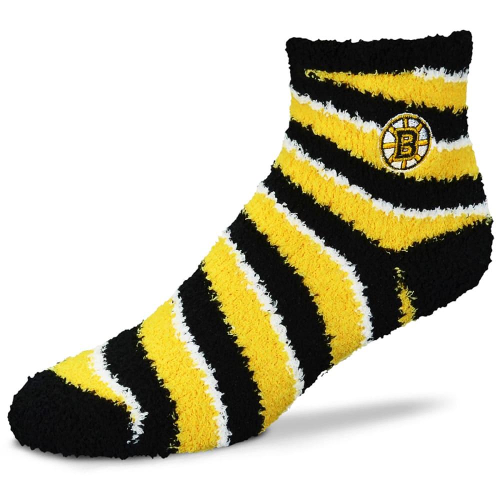 BOSTON BRUINS Candy Cane Striped Fuzzy Sleep Socks - YELLOW