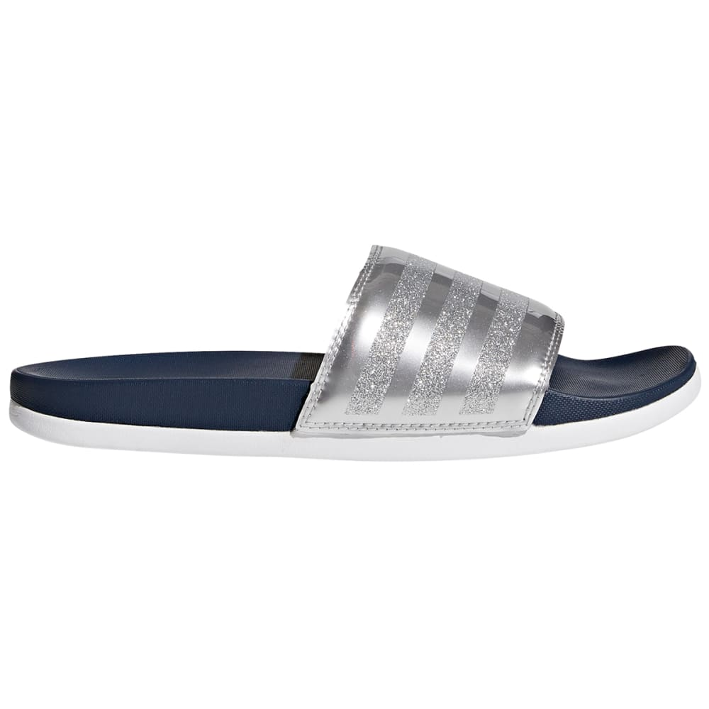 Adidas Women's Adilette Cloudfoam Explorer Slides - Blue, 6