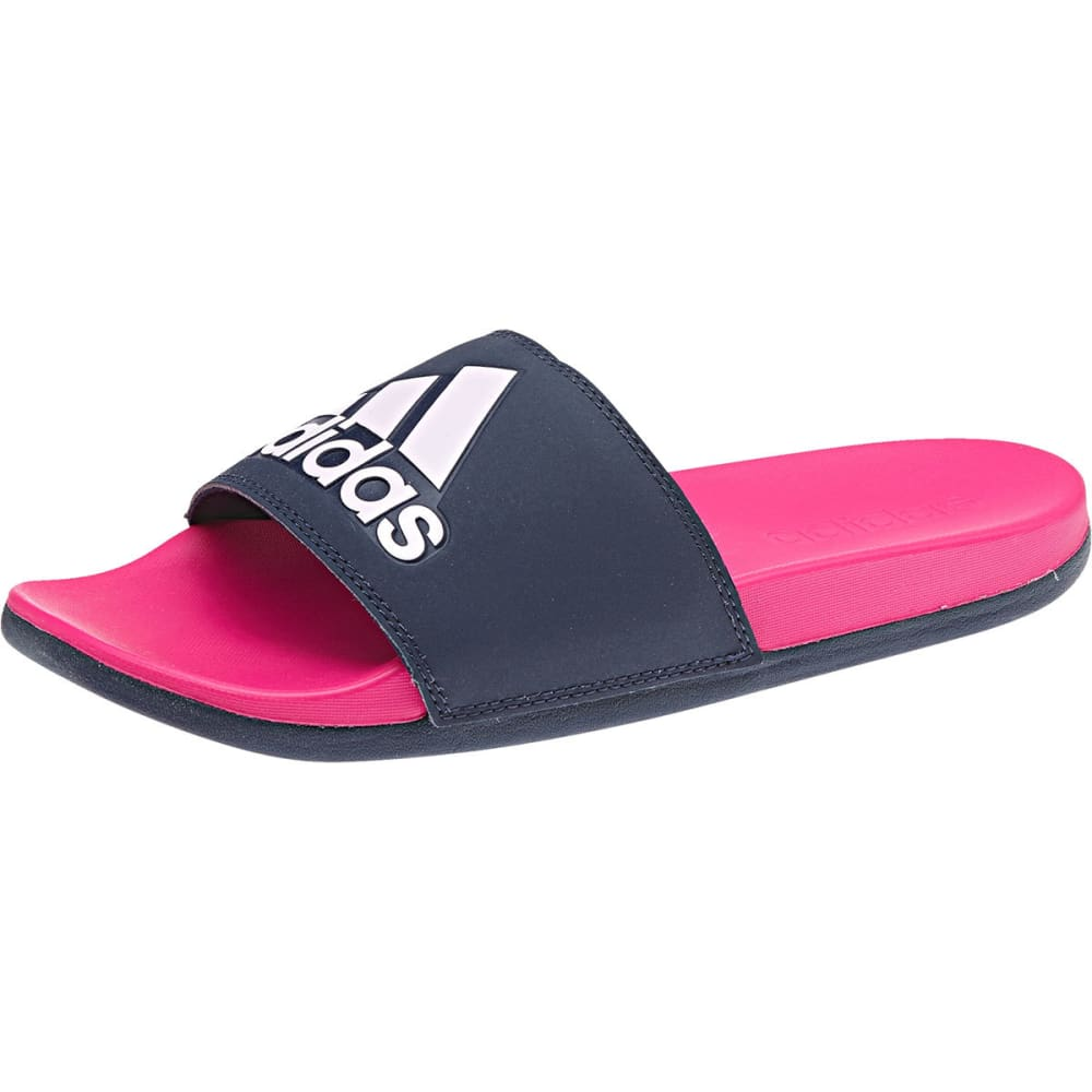 Adidas Women's Adilette Cloudfoam Plus Logo Slides - Blue, 6