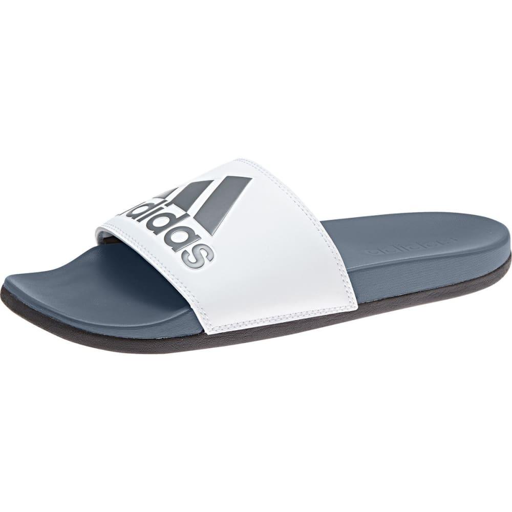 ADIDAS Men's Adilette Cloudfoam Plus Logo Slides - RAW STEEL