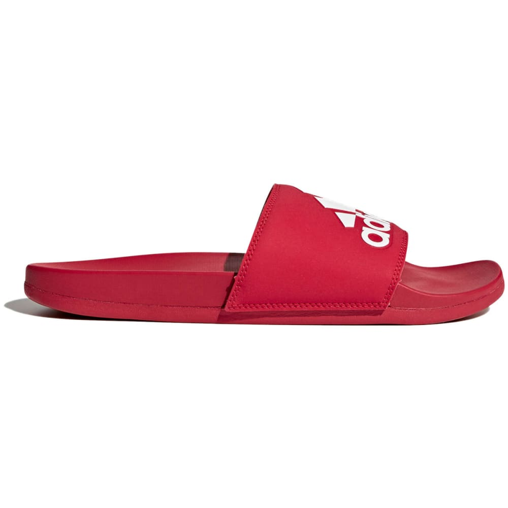 ADIDAS Men's Adilette Cloudfoam Plus Logo Slides - SCARLET