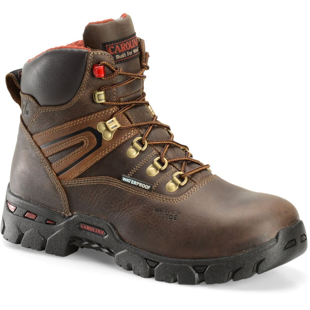 CAROLINA Men's 6 in. Coiler Lo Waterproof Composite Toe Work Boots, Dark Brown 8