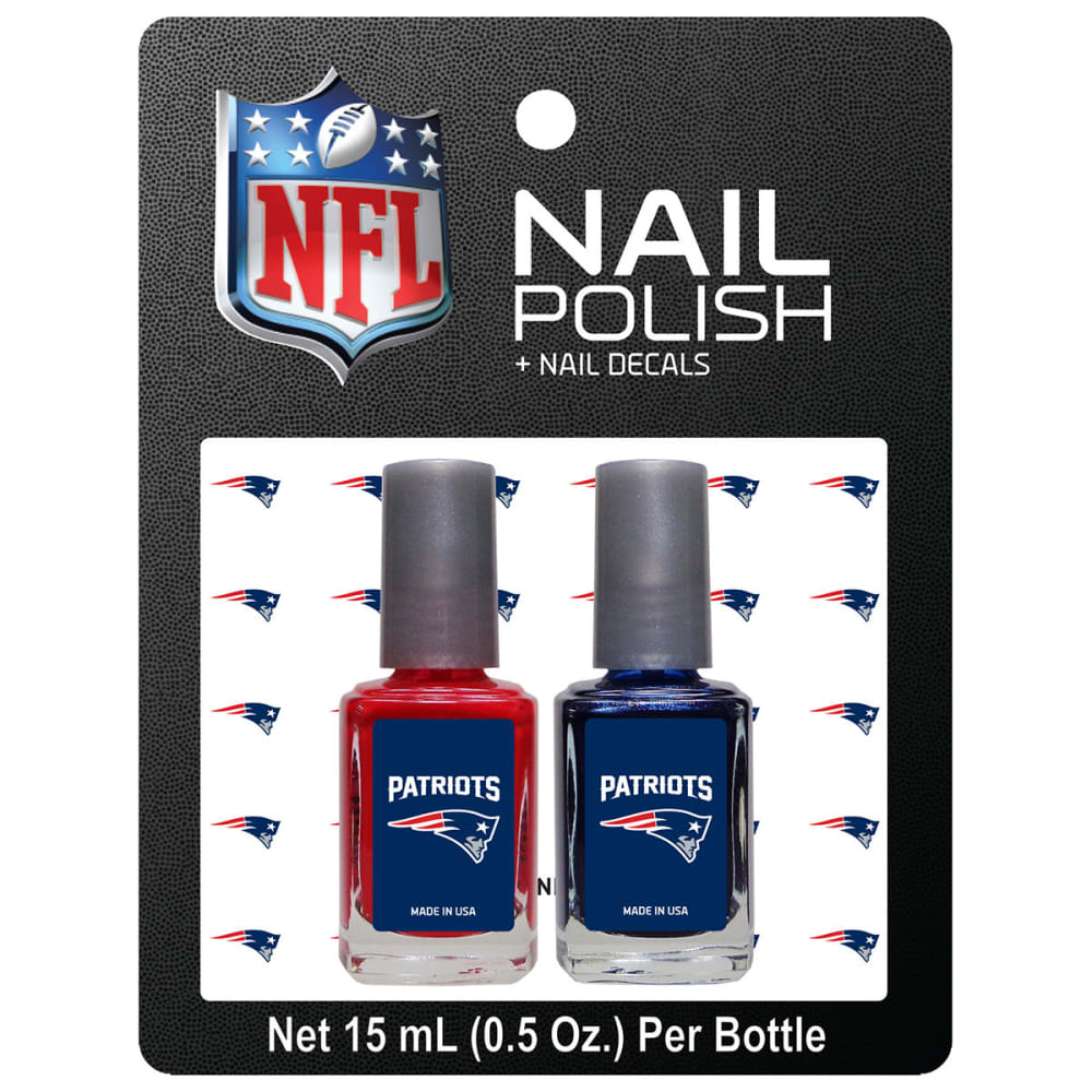 NEW ENGLAND PATRIOTS Nail Polish with Matching Decals, 2 Pack - NO COLOR