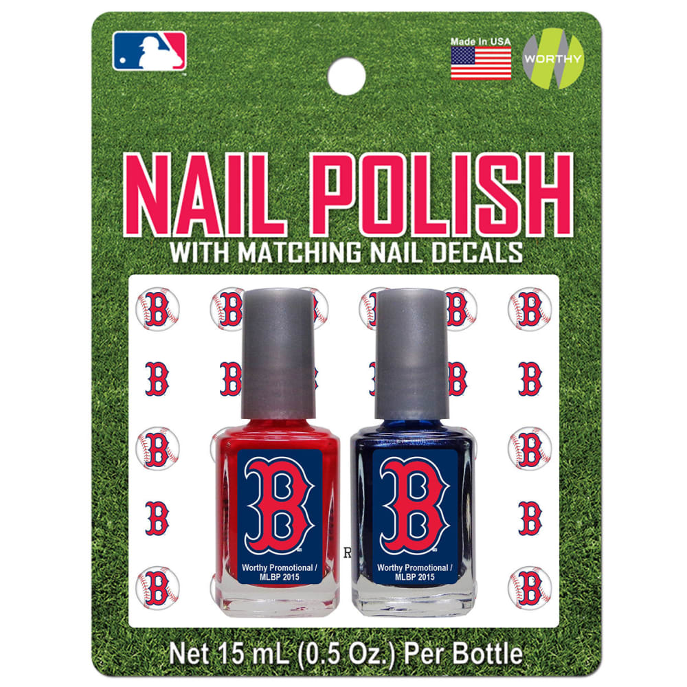 BOSTON RED SOX Nail Polish with Matching Decals, 2 Pack - NO COLOR