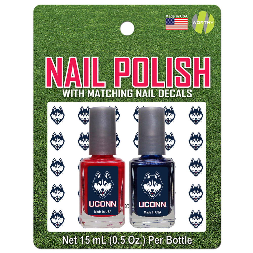UCONN Nail Polish with Matching Decals, 2 Pack - NO COLOR