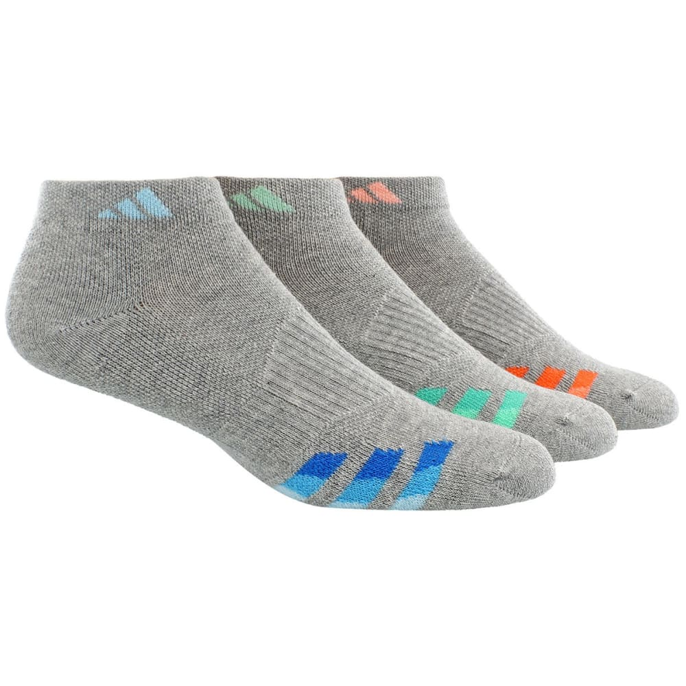 ADIDAS Women's Cushioned Variegated Low-Cut Socks, 3-Pack - 40A-GREY ASST