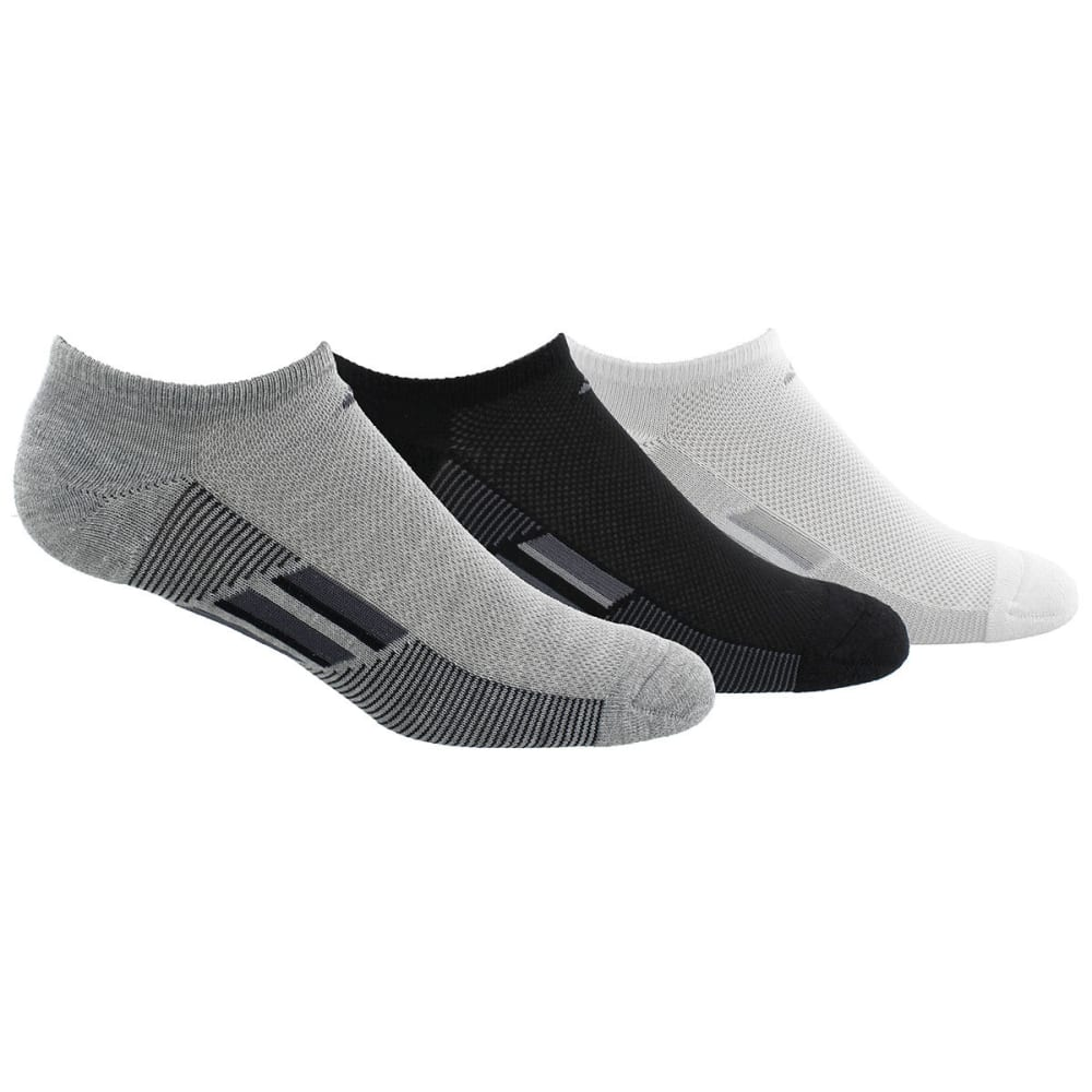 ADIDAS Women's Climacool Superlite Stripe No-Show Socks, 3-Pack - 298A-WHT/BLK/GREY