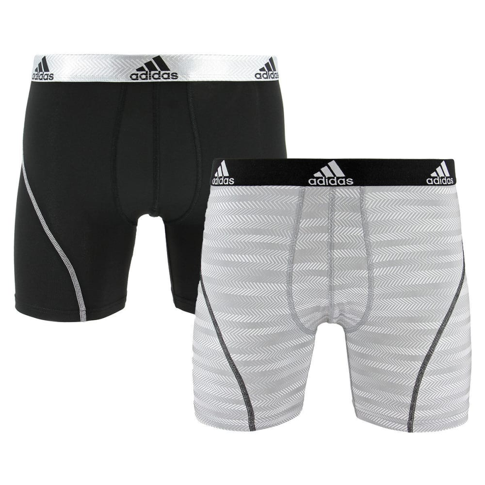 ADIDAS Men's Sport Performance Climalite Graphic Boxer Briefs, 2-Pack - GREY LOOPER/BLK