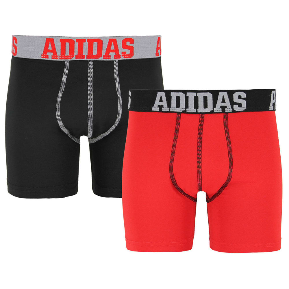 ADIDAS Big Boys' Sport Performance Climalite Boxer Briefs, 2-Pack - BLK/GREY/RED