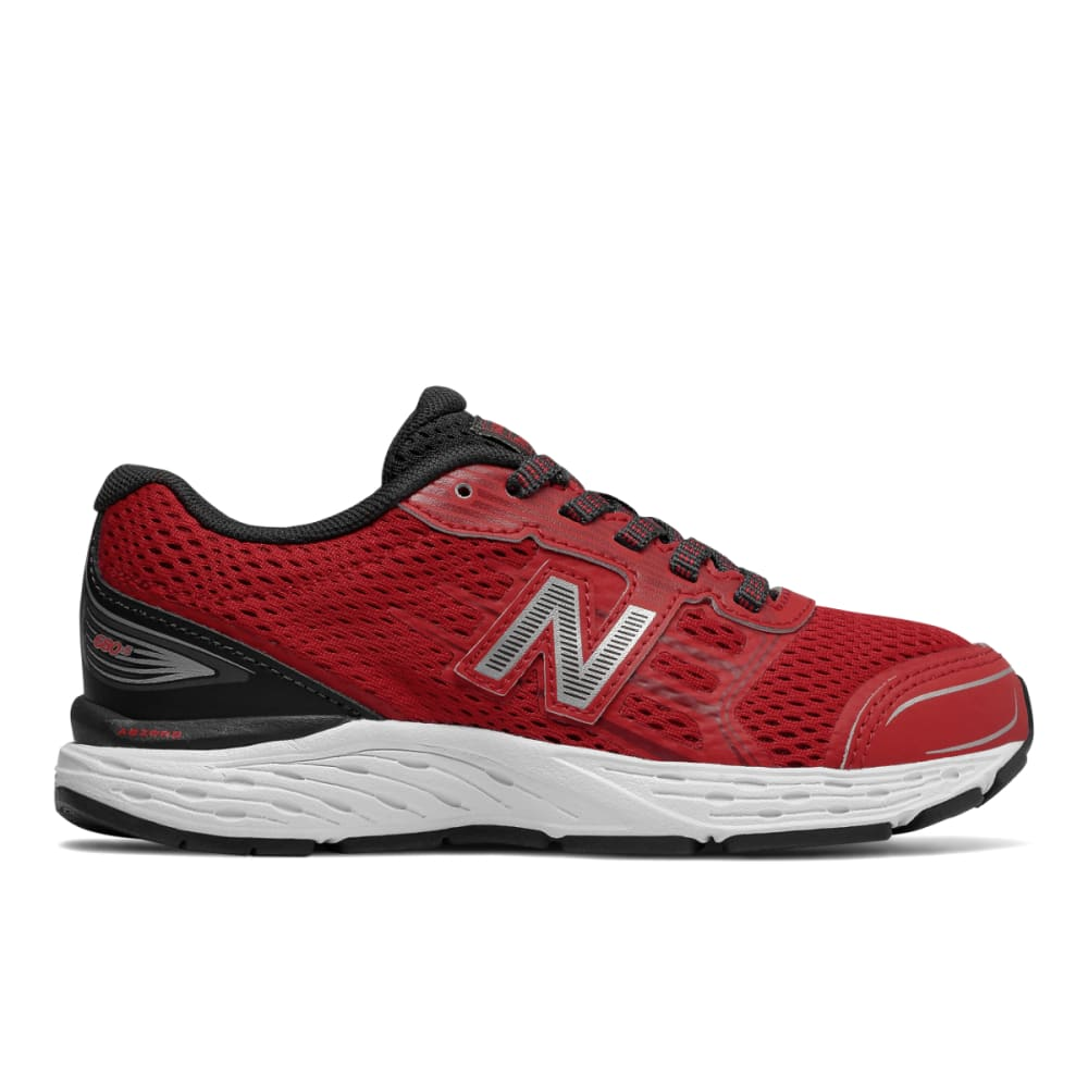 New Balance Big Boys' Grade School 680V5 Running Shoes, Wide - Red, 3.5