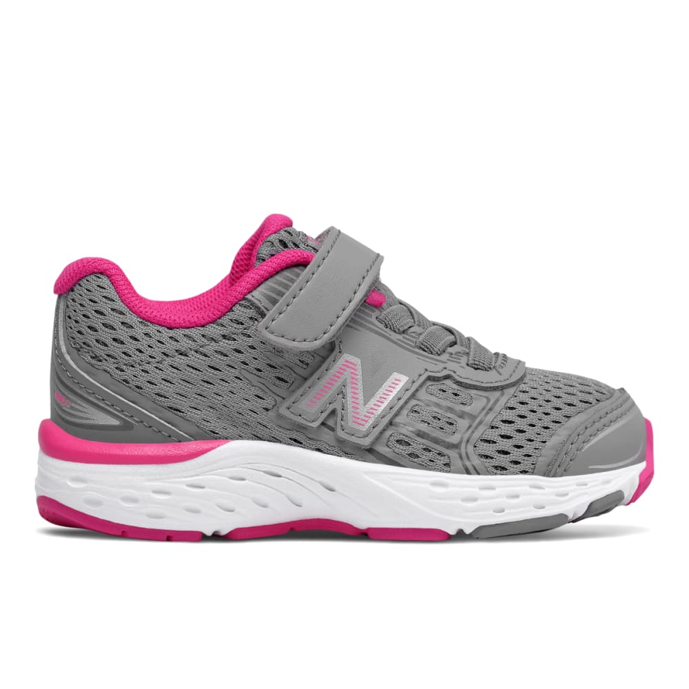 New Balance Toddler Girls' Hook-And-Loop 680V5 Alternate Closure Sneakers - Red, 4