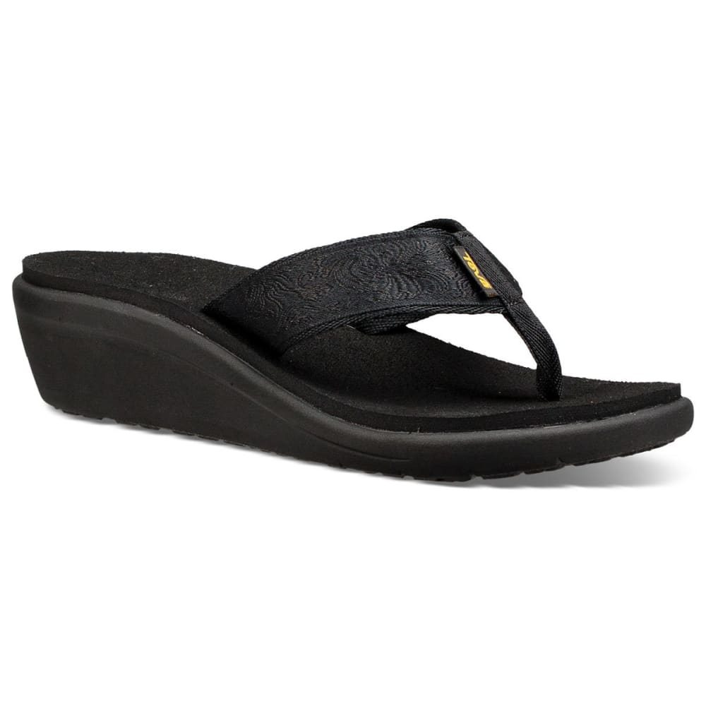 TEVA Women's Voya Wedge Sandals - BLACK