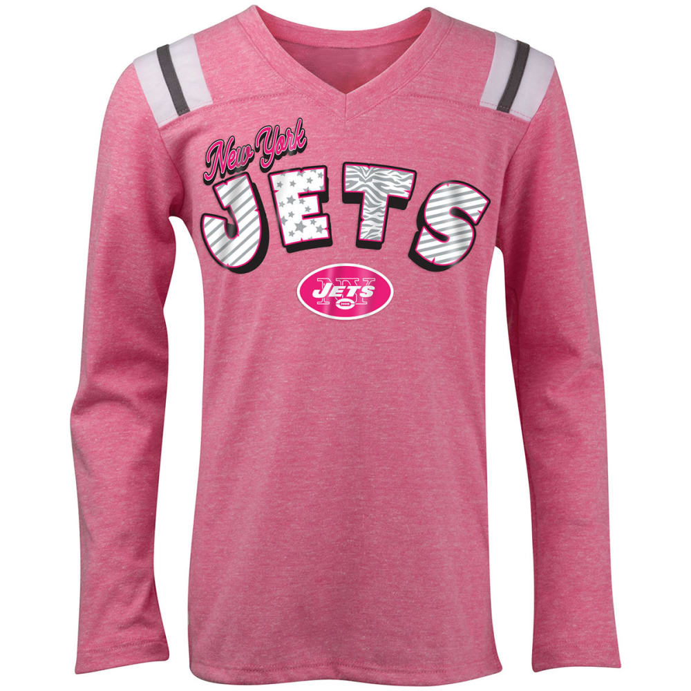 NEW YORK JETS Girls' Tri-Blend Pink Long-Sleeve Tee - PINK