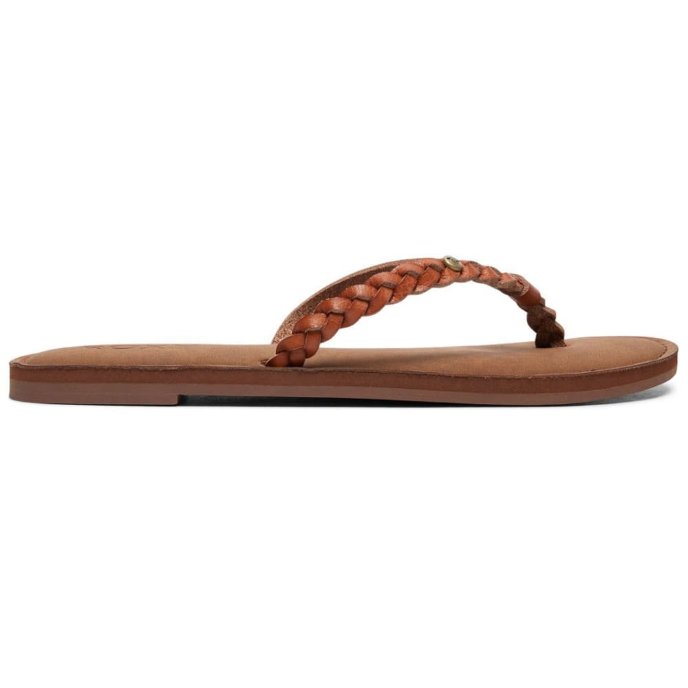 ROXY Women's Livia Braided Strap Flip Flops - BROWN