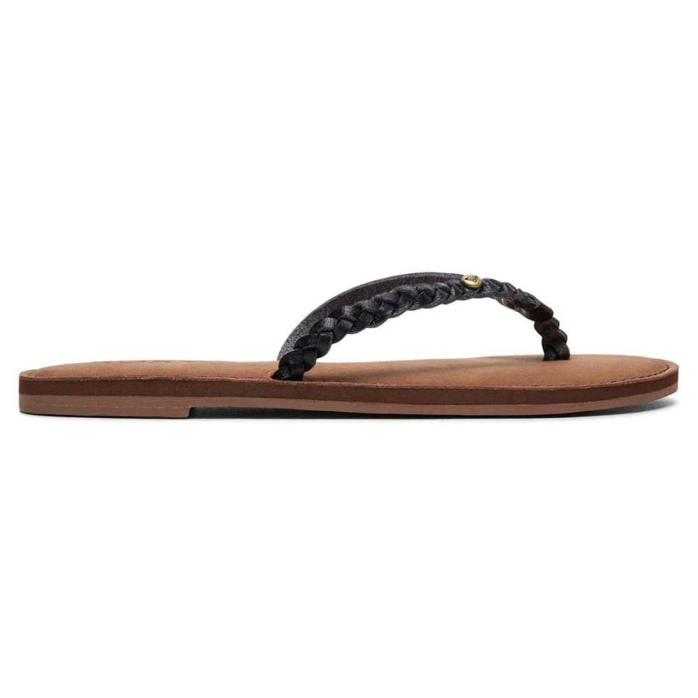 ROXY Women's Livia Braided Strap Flip Flops - BLACK