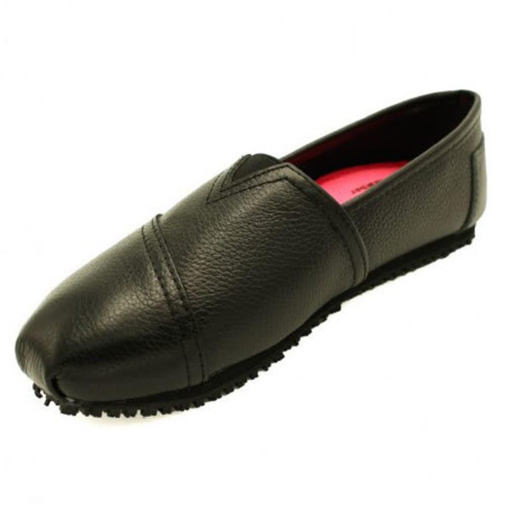 LAFORST Women's Jess Leather Slip-On Slip-Resistant Shoes, Black - BLACK